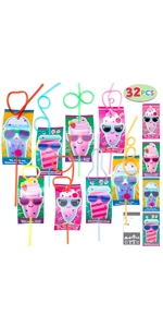 32 Pack Valentines Day Gift Cards with Crazy Loop Reusable Drinking Straws