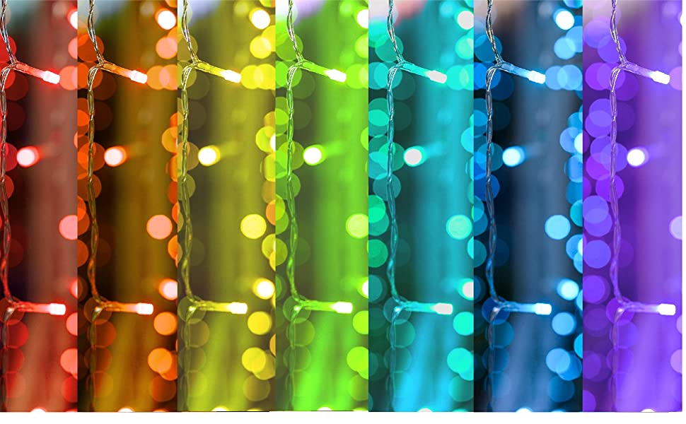 colored icicle curtain lights