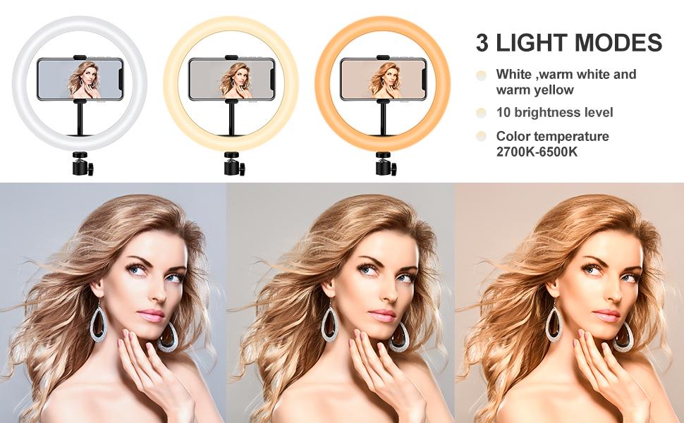 ring light has 3 light modes &10 brightness levels