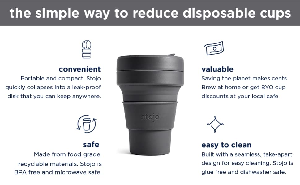 Stojo On The Go Coffee Cup | Pocket Size Collapsible Silicone Travel Cup –  Carbon Black, 12oz / 355ml