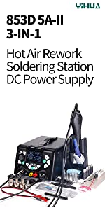 YIHUA 3-IN-1 station for laptop repair hot air rework station soldering station DC power supply