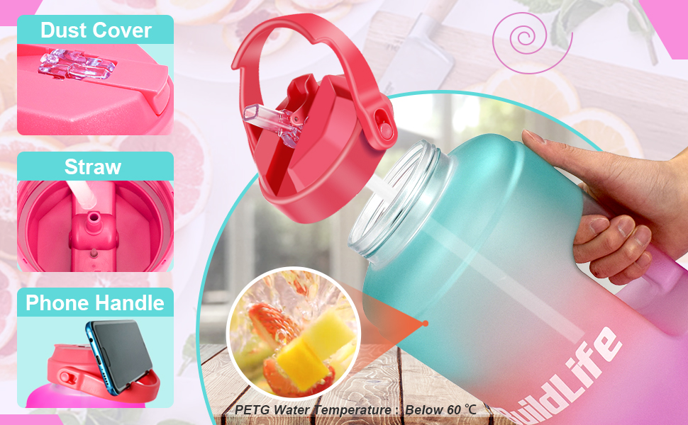 gallon water bottle with straw