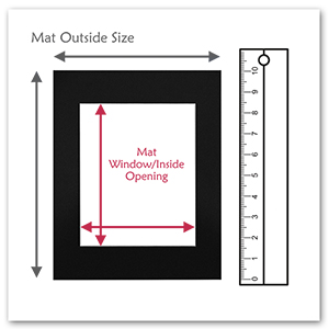 mat outside size inside inner window opening with measuring ruler