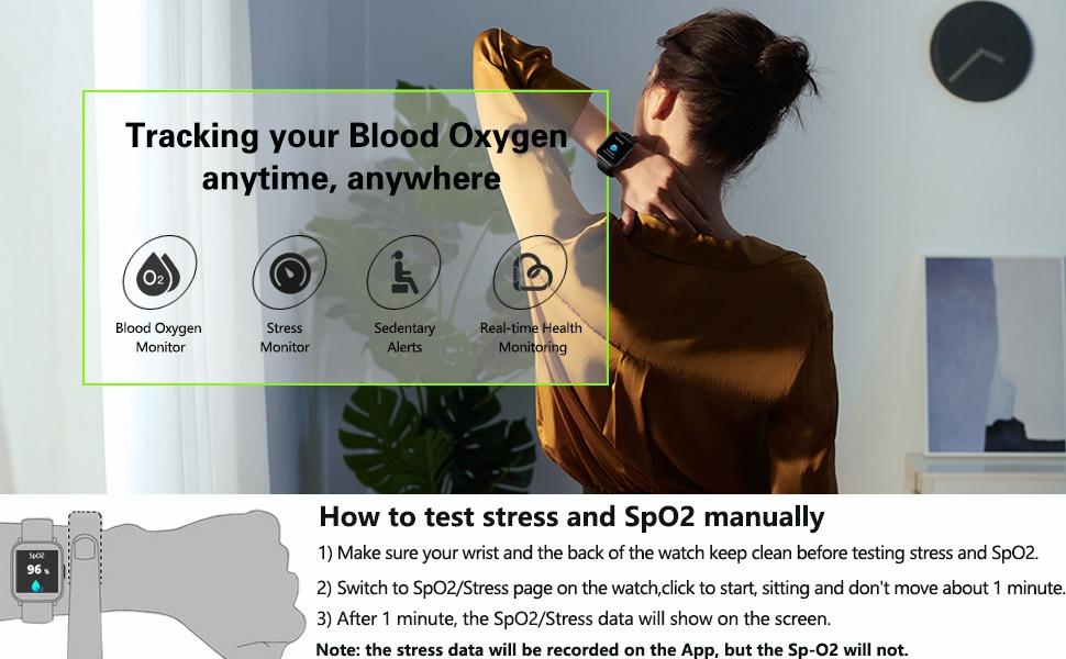 smartwatch fitness watch with blood oxygen monitor for women men kids