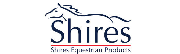 Shires equestrian products logo with a stylized line drawing of a running horse above those words.
