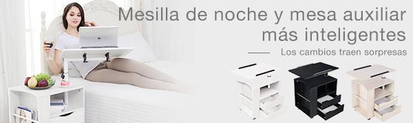 Emall Life Mesita de Noche Funcional Mesita de Noche de Madera ...