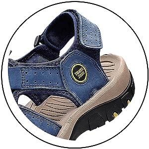 Sandali Sportivi Uomo Cuoio Sandali Trekking Sandali Estivi Sandali da Mare All'aperto Spiaggia