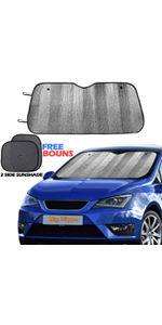 Size: 55.16 X 27.5inch Jumbo//Standard Sunshade Keeps Vehicle Cool UV Ray Sun Visor Protector Sunshades Easy to Use Folding Sun Shade Big Hippo Front Car Sun Shade Windshield Silver//Black Sides