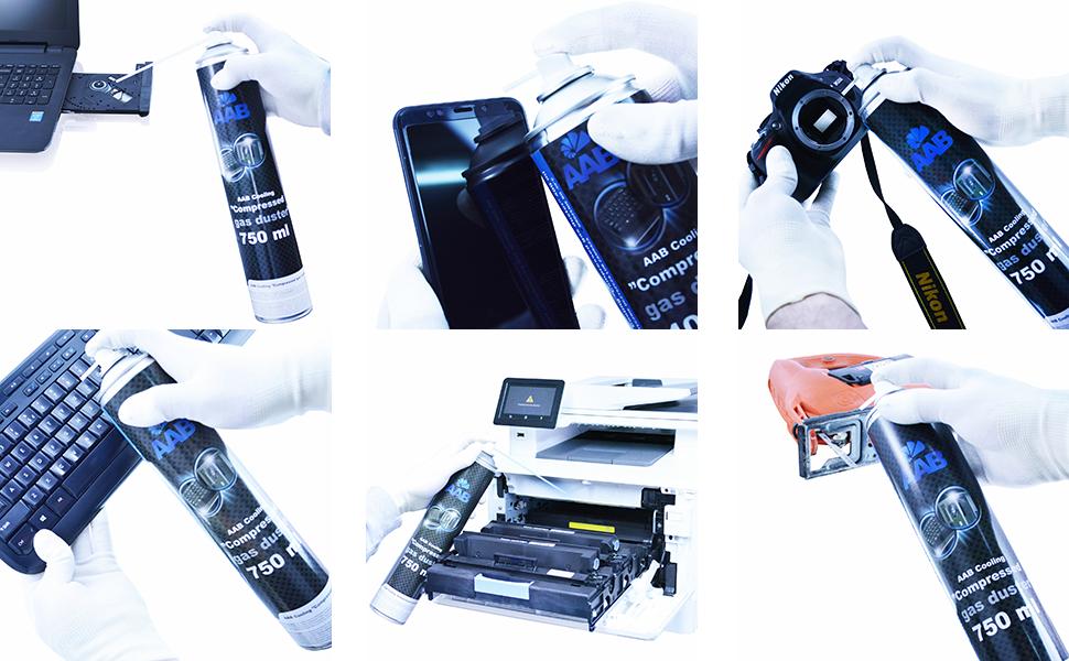 AAB Spray de Aire Comprimido 750ml para Limpiar Teclados, Ordenadores, Copiadoras, Cámaras, Impresoras y Otros Equipos Eléctricos, Efectividad ...