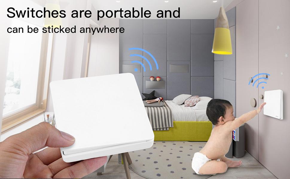 Interrupteur sans Fils,AICase Commande /à Distance Mural Pas de C/âblage /étanche,T/él/écommande pour Maison d /éclairage et Appareils 1 grand+1 petit Interrupteur