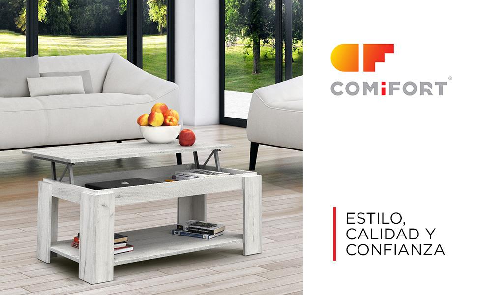 COMIFORT Mesa de Centro Elevable - Mueble con Revistero, Gran ...