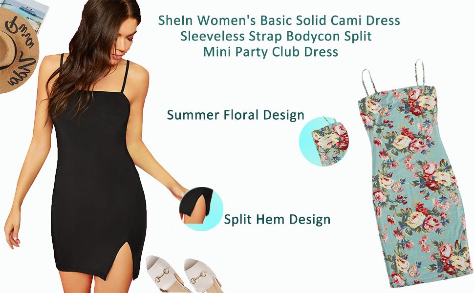SheIn Women's Basic Solid Cami Dress Sleeveless Strap Bodycon Split Mini Party Club Dress