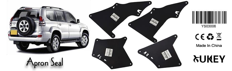 Fender Liners Splash Shield for FJ Cruiser 2007-2014 Land Cruiser Prado J120 J150 120 150 2003-2020 Apron Seal Skirt Mud Flaps Guards Mudflaps 53735-35150 53736-35150 53886-35020 W//Clips 9046710186