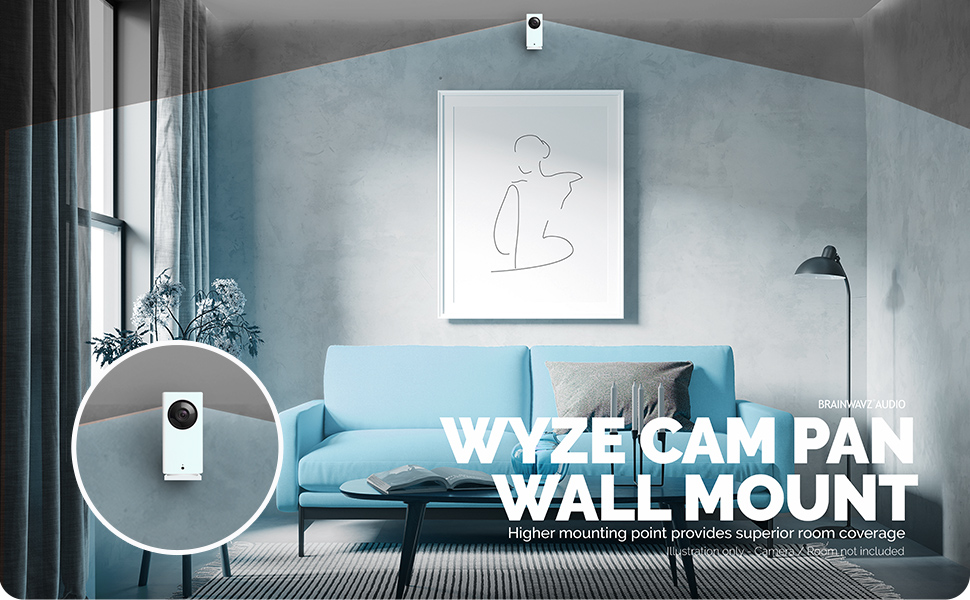 Screwless Wall Mount Kit for Wyze Cam Pan, VHB Stick On - Easy to Install, Full Tilt & Pan Function
