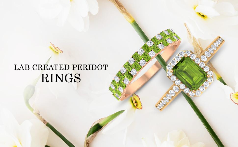 banner Lab Created Peridot Rings
