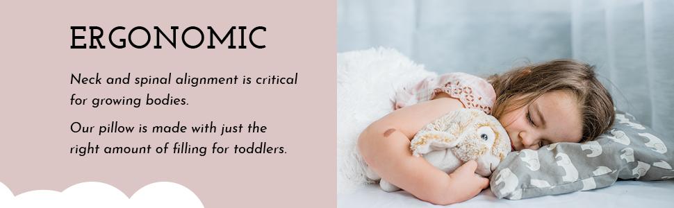 Little Sleepy Head Organic Toddler Pillow Ergonomic Alignment