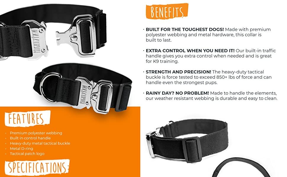 Mighty Paw Tactical Dog Collar Premium Weatherproof Polyester and Durable Metal Buckle for Medium to Extra Large K9s Heavy Duty Pet Training Collar with Built-in Handle for Extra Control