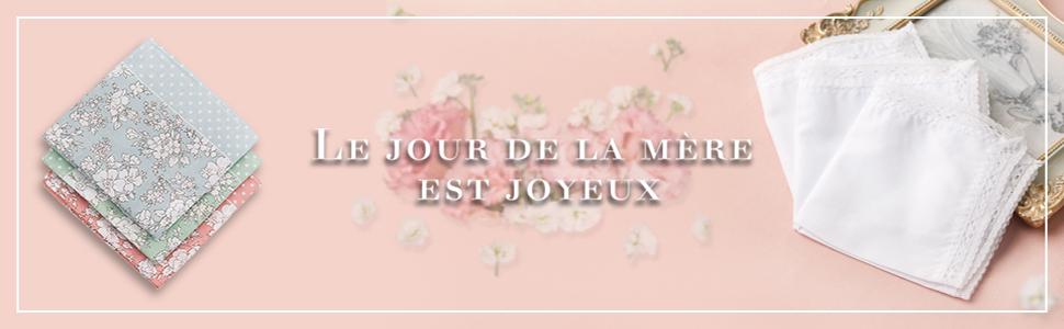 HOULIFE Femme Mouchoirs Tissu /épais en Pur Coton Peign/é Motif Floral pour Usage Quotidien Lot de 4//8 Pi/èces 45x45cm