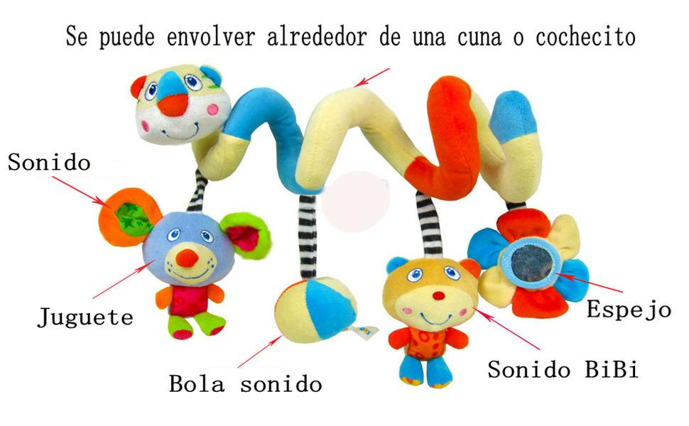 Happy Cherry - Juguetes Colgantes Espiral para cochecitos cunas de Peluche Veludillo con Sonidos para Bebés recién Nacidos Niños niñas para Arrastrar