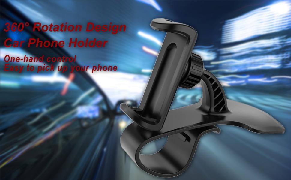 Car Phone Holder, Dashboard Phone Mount, 360-Degree Rotation HUD Design Car Phone Clip