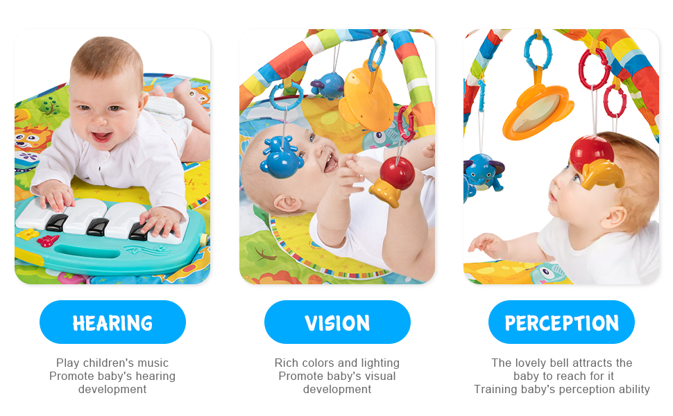 UNIH Baby Activity Gym Rack Piano Fitness Playmat with 5 Activity Sensory Toys Newborn Baby Activity Center for Girl and Boy 0-12 Month