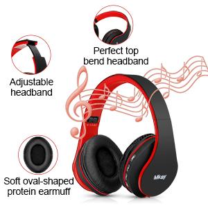 Mkay bluetooth headphones wireless over ear black-red-EBC-2