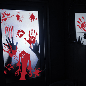 STEFORD Halloween Window Clings,6 Sheets Horror Bloody Halloween Decoration Decals Window Glass Stickers for Halloween Party Decorations Supplies
