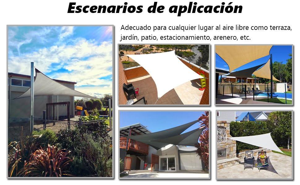 AXT SHADE Toldo Vela de Sombra Rectangular 3, 5 x 4, 5 m, protección Rayos UV y HDPE Transpirable para Patio, Exteriores, Jardín, Color Arena: Amazon.es: Jardín