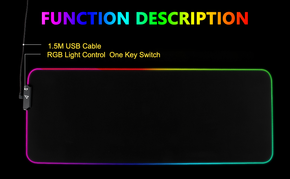 EASY TO USE, PLUG AND PLAY rgb gaming mouse pad large mouse pad led mouse pad mouse mat