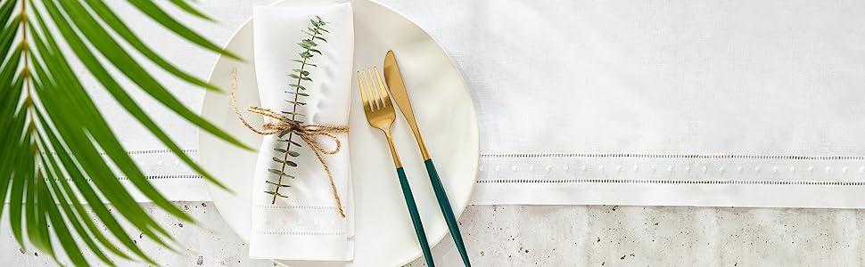 double hemstitched white linen dinner napkins table runner set hemstitch embroidered swiss dots bulk