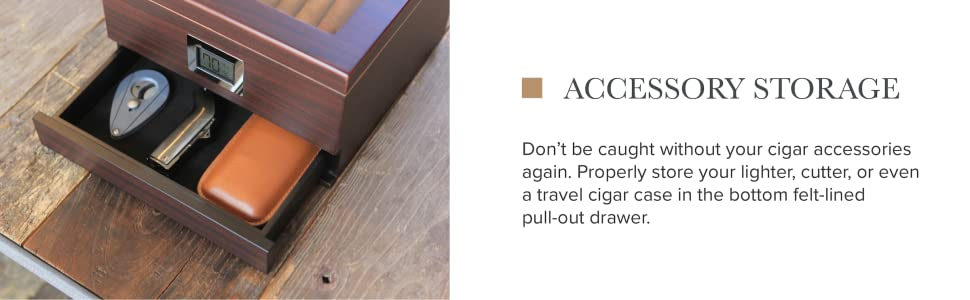 accessory storage for your cigar cutter and lighter glass top spanish cedar wood combing box
