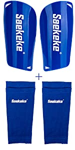 Shin Guards with Sleeves Blue