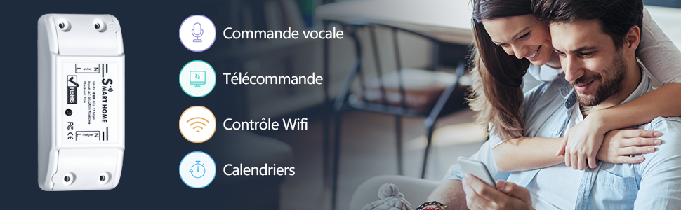 Compatible avec Alexa UNEEDE WiFi Smart Switch Commutateur sans fil puissant /à t/él/écommande intelligente Google Home /équipement /électrique t/él/écommand/é /à tout moment