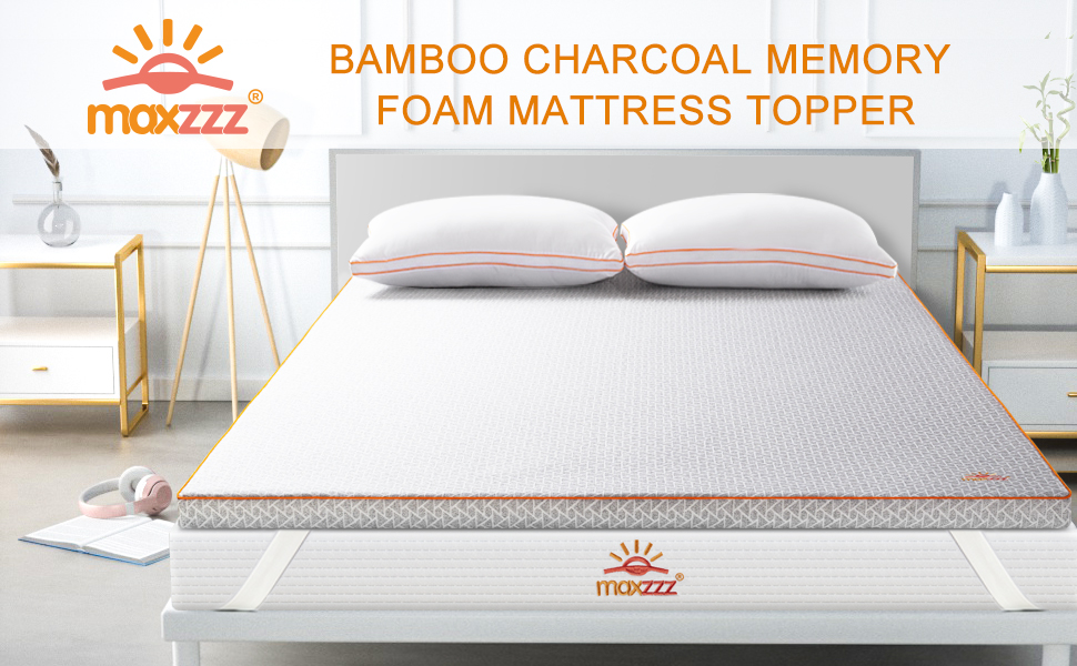 CertiPUR-US Certified Foam Bed Topper Full Size Hypoallergenic /& Odor-Resistant Foam Toppers for Bed with Washable Cover Maxzzz 3 Bamboo Charcoal /& Copper Dual Side Memory Foam Mattress Topper