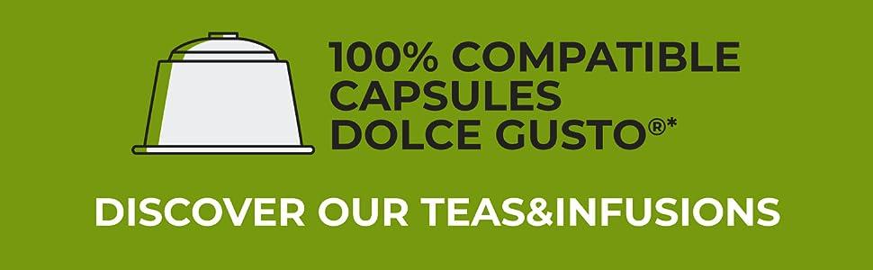 FRHOME - 48 Cápsulas Compatible con Nescafè Dolce Gusto - Té Verde ...