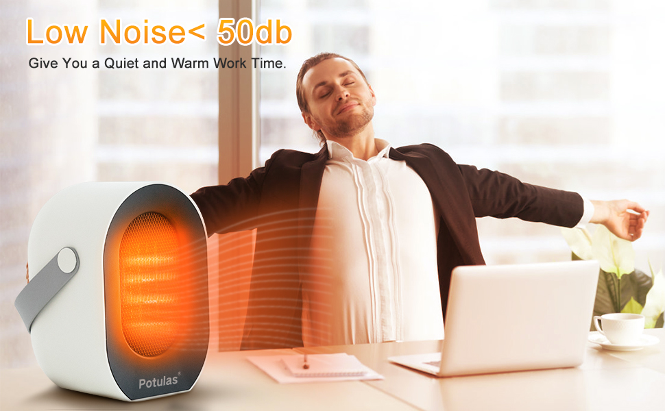potulas 1200W//600W Portable Electric Ceramic Heat Small Space Heater for Office