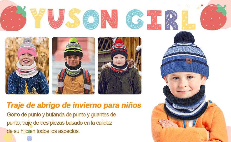 niños sombrero conjunto de bufanda
