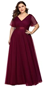 plus size tulle bridesmaid dress short sleeve evening dress wedding guest gowns formal dress long