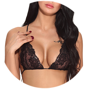 Sexy Glamorous Deep V Neck Sheer Lace Cups
