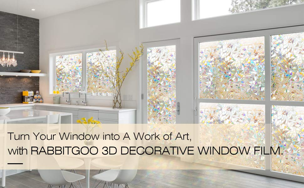 1X Removable Frosted Decorative Privacy Window Films Stained Glass Film Home UK