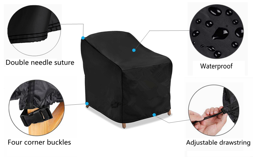 L28 x D35 x H35 Lounge deep seat Cover Durable Waterproof Outdoor Furniture Cover Large Aochol Patio Chair Covers Modern Leisure Chair Cover
