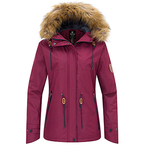 Wantdo Women's Waterproof Ski Fleece Jacket Mountain Parka Warm Faux Fur Collar