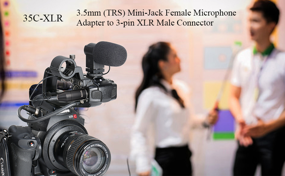Mini-Jack Female Microphone Adapter to 3-pin XLR Male Connector Compatible with Camcorders Mixers Recorders BOYA 35C-XLR 3.5mm TRS
