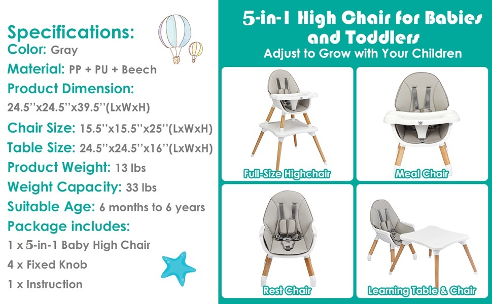 specification of this baby eat & grow high chair
