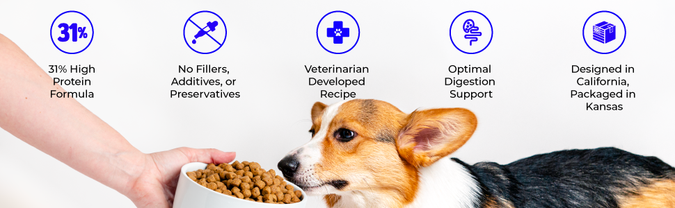 veterinarian healthy protein digestion california dry dog food puppy adult vegan plant based
