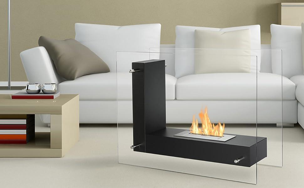Vitrum L - Freestanding Ethanol Fireplace