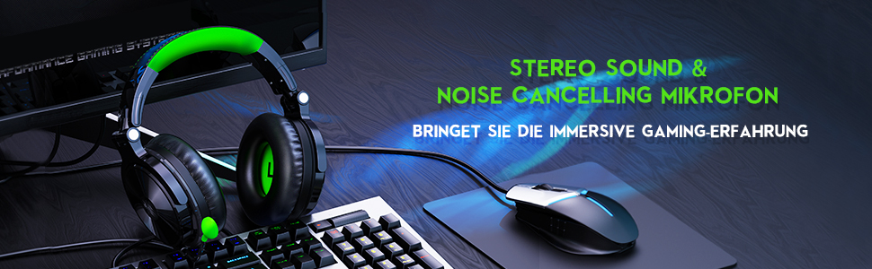 Stereo Kopfhörer Over Ear mit Mikrofon für Studio Student Gaming Headset
