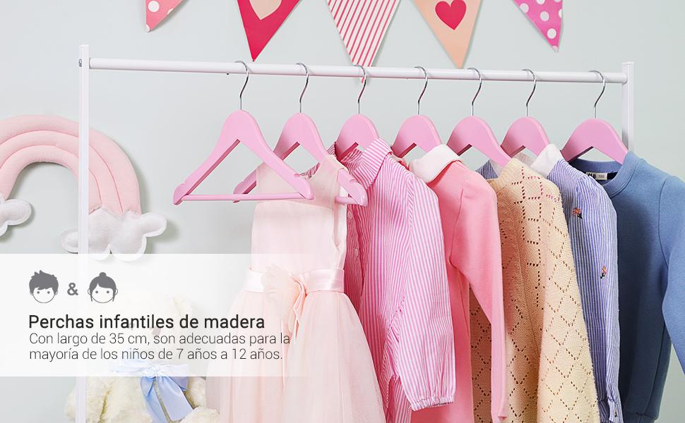 SONGMICS Perchas para Niños de Madera Maciza, Paquete de 20, para ...