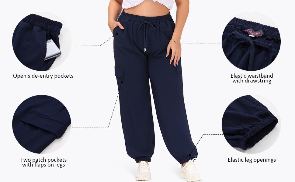 women plus size cargo streetwear pants