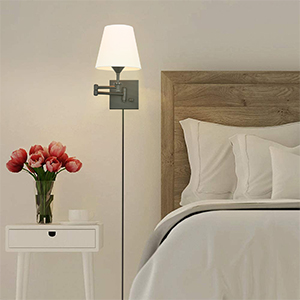 Swing Arm Wall Lamps for Bedroom Set of 2